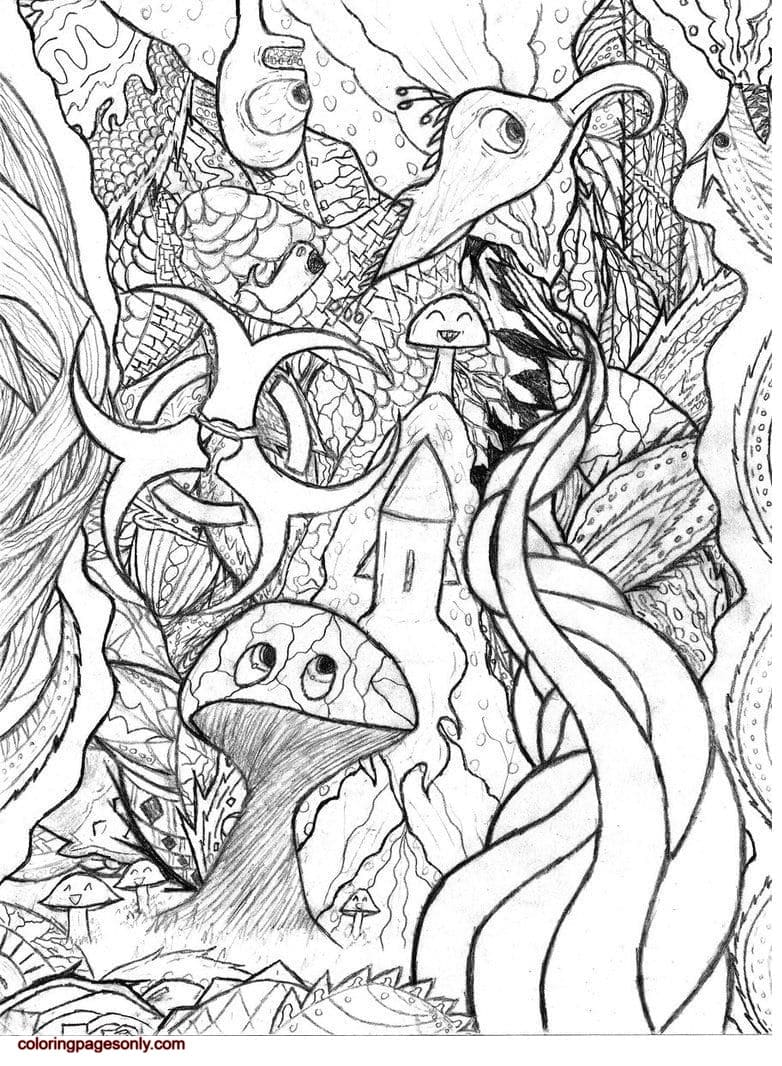 Easy Trippy Coloring Page