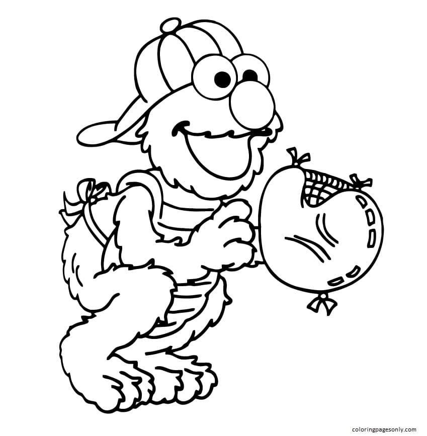 Elmo Baseball Coloring Page