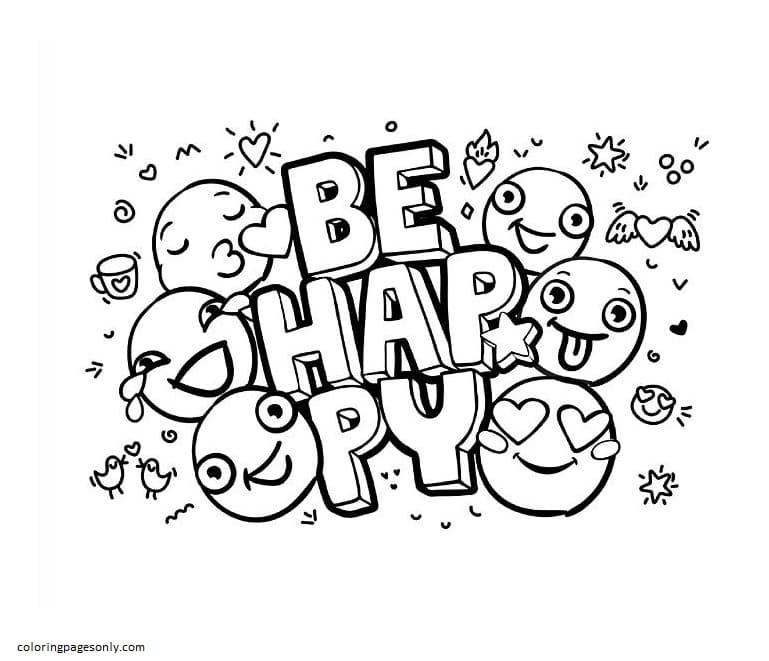 Emoji Be Hayppy Coloring Page