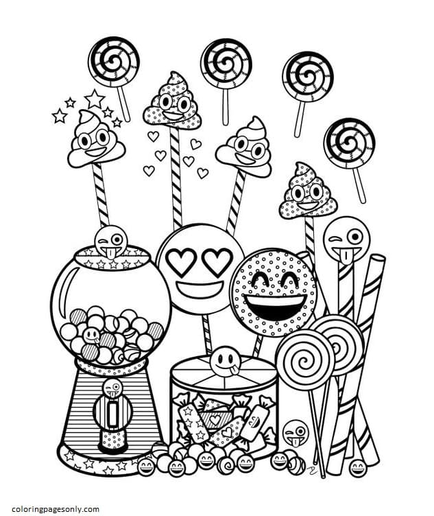 Emoji Birthday Party 1 Coloring Page