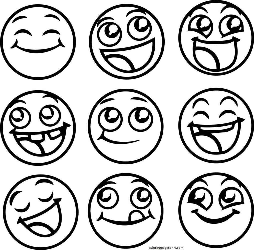 Emoji Heart Eyes Coloring Page
