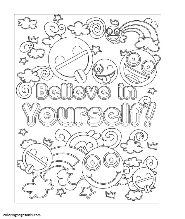 Emojis – Believe in Yourself Coloring Page