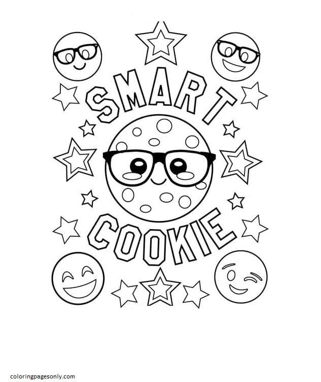 Emojis Smart Cookie Coloring Page