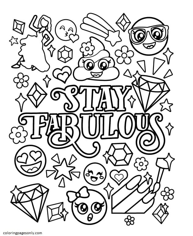 Emojis – Stay Fabulous Coloring Page