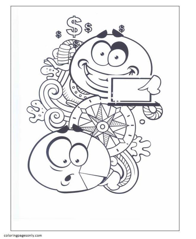 Emoticons 8 Coloring Page