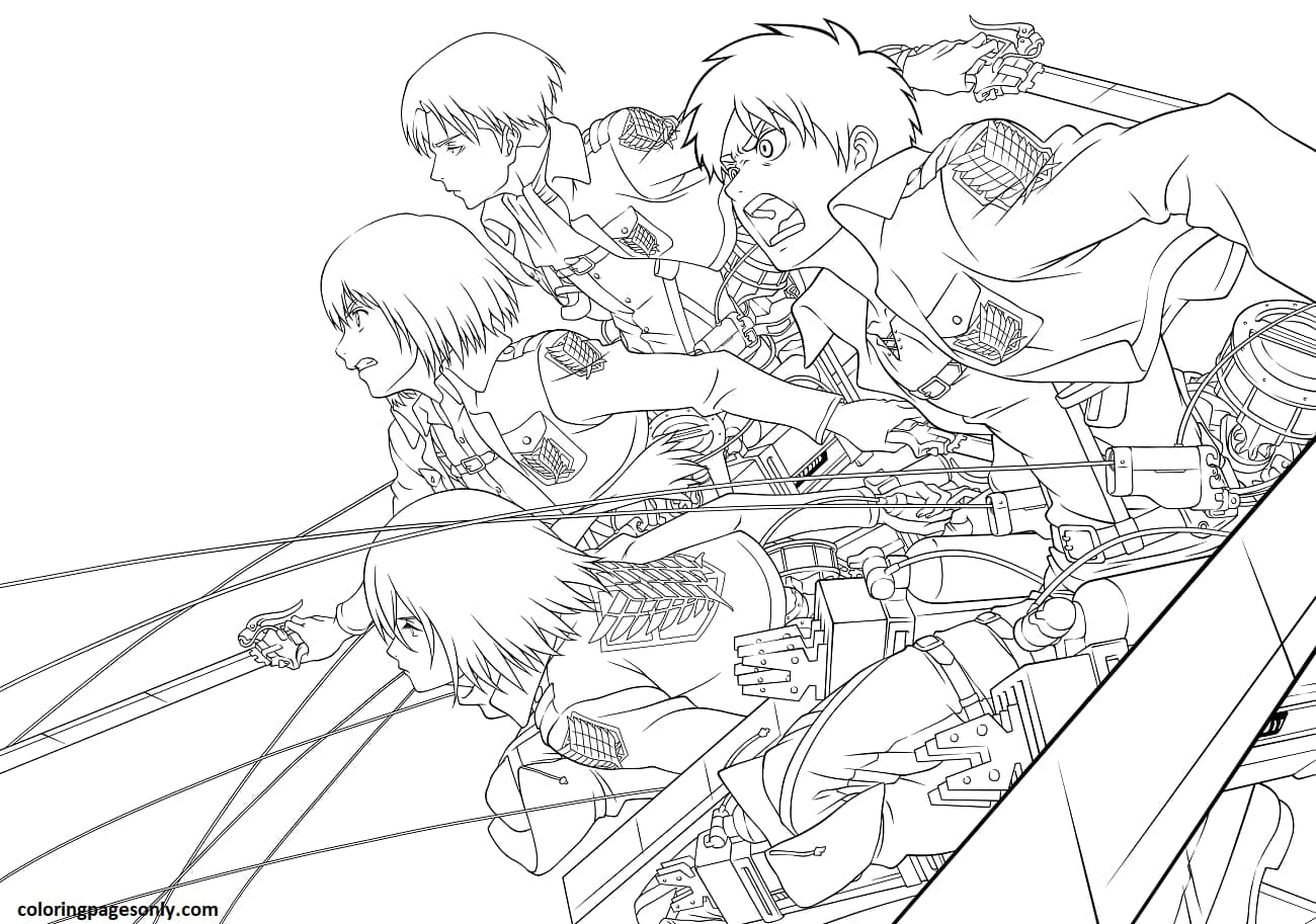 Eren, Mikasa, Armin and Levi Coloring Page