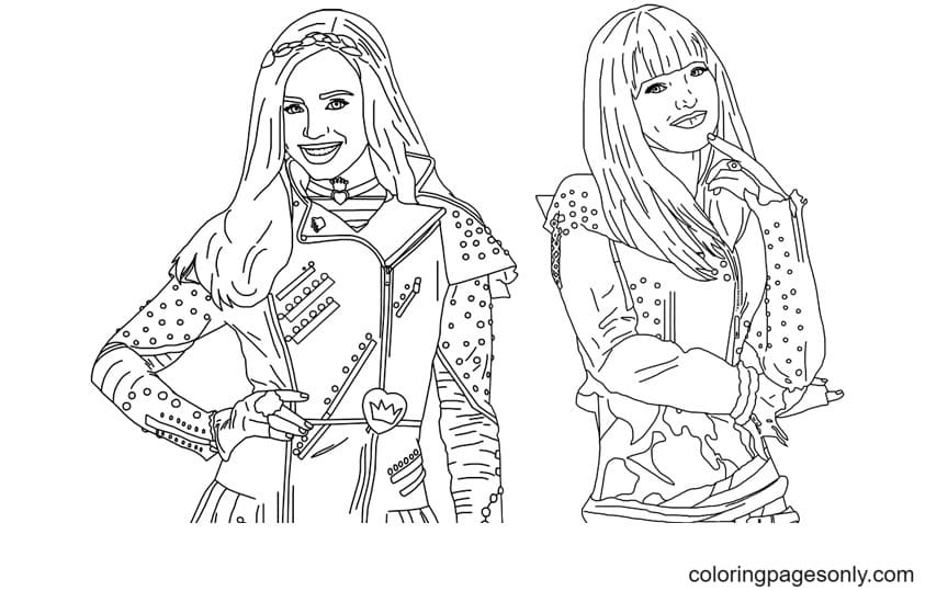 Evie And Mal from Descendants Coloring Page
