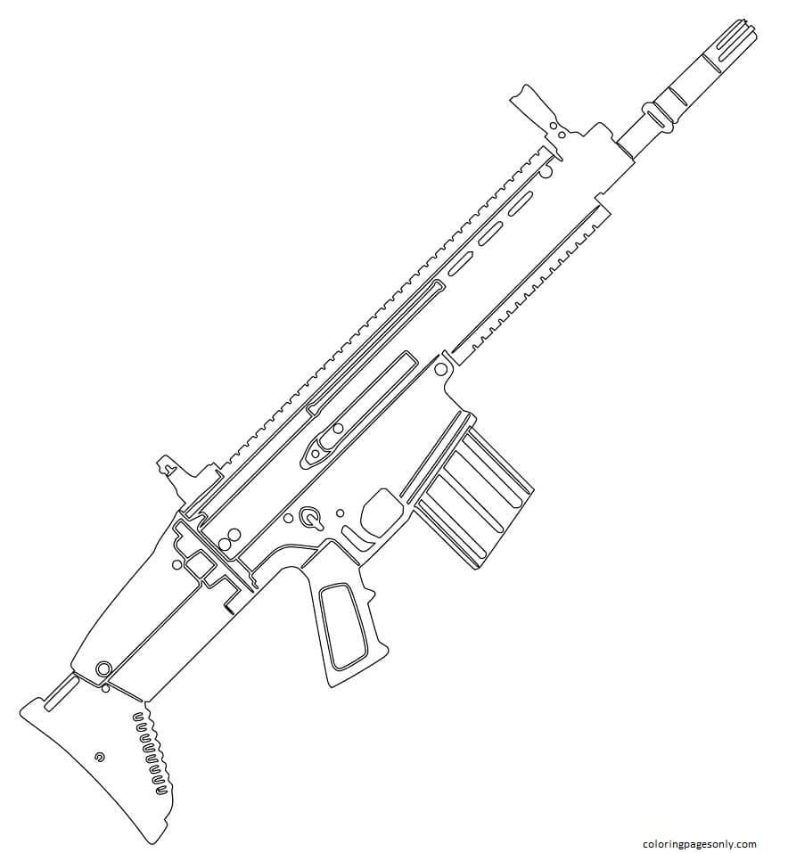 FN SCAR Assault Rifle Coloring Page