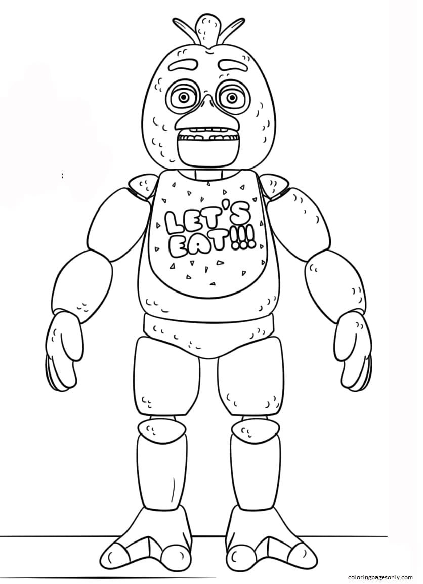 FNAF Toy Chica Coloring Page