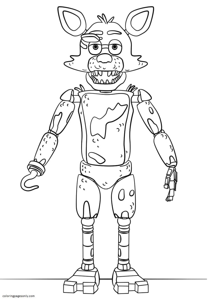 FNAF Toy Foxy Coloring Page