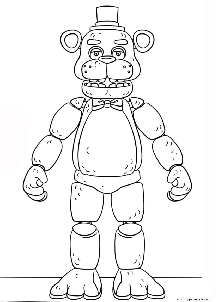 FNAF Toy Golden Freddy Coloring Page