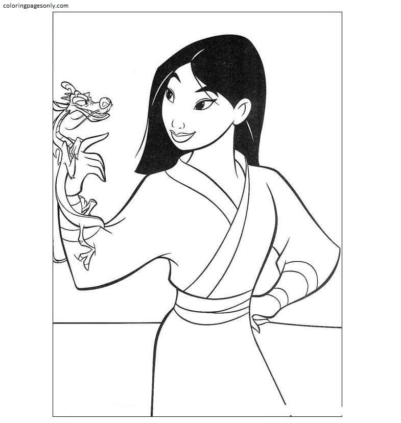 Fa Mulan And Mushu Coloring Page
