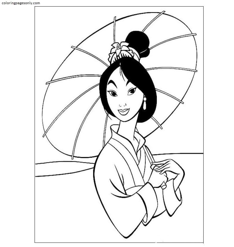 Fa Mulan Holds An Umbrella Coloring Page