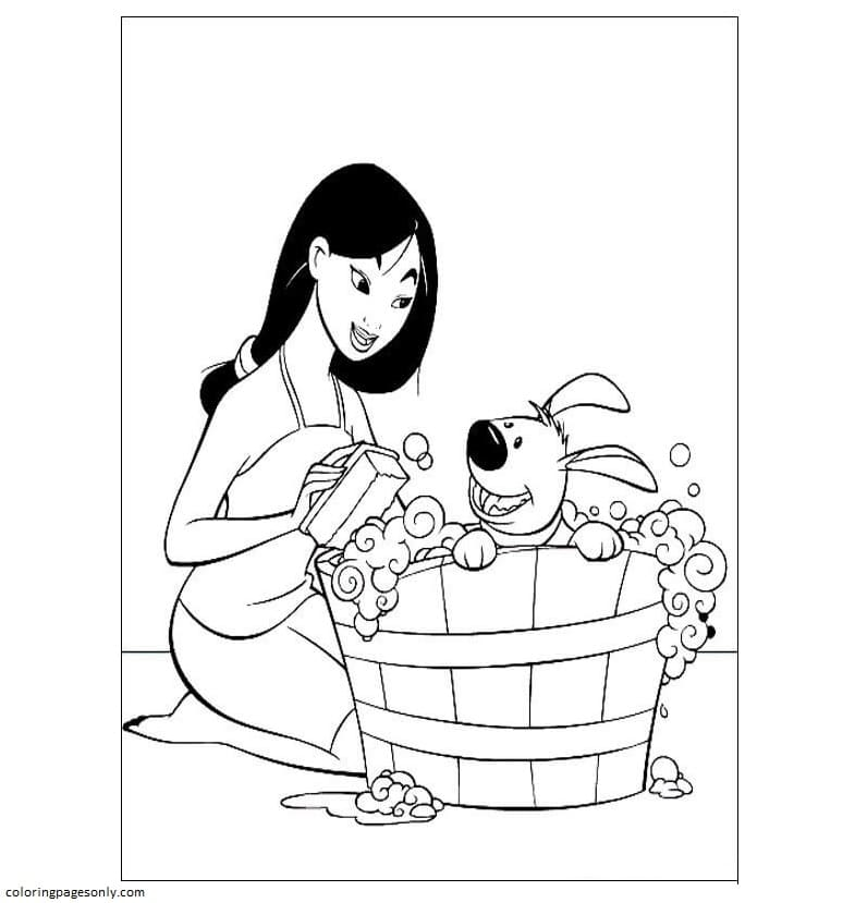 Fa Mulan Is Cleaning Her Pet Coloring Page