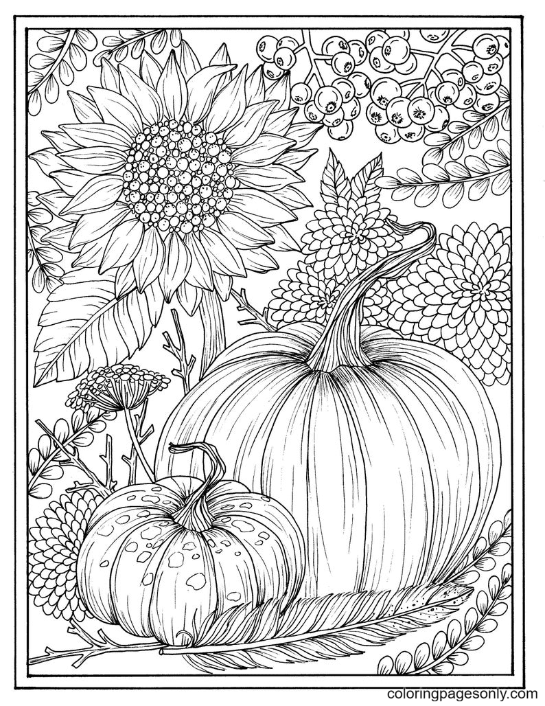 Fall flowers and pumpkins Coloring Page