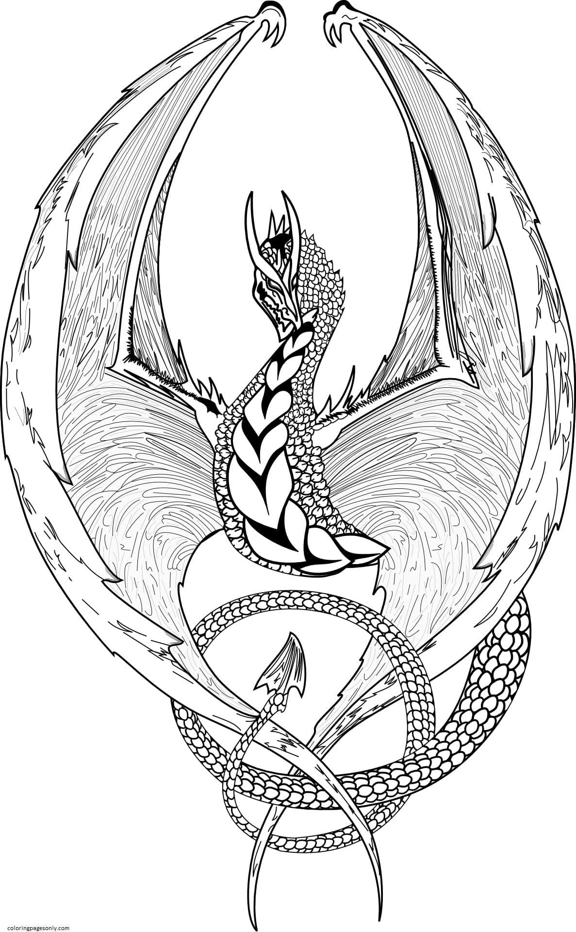 Fantasy Dragon Coloring Page