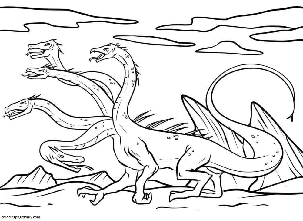 Fantasy Hydra 1 Coloring Page