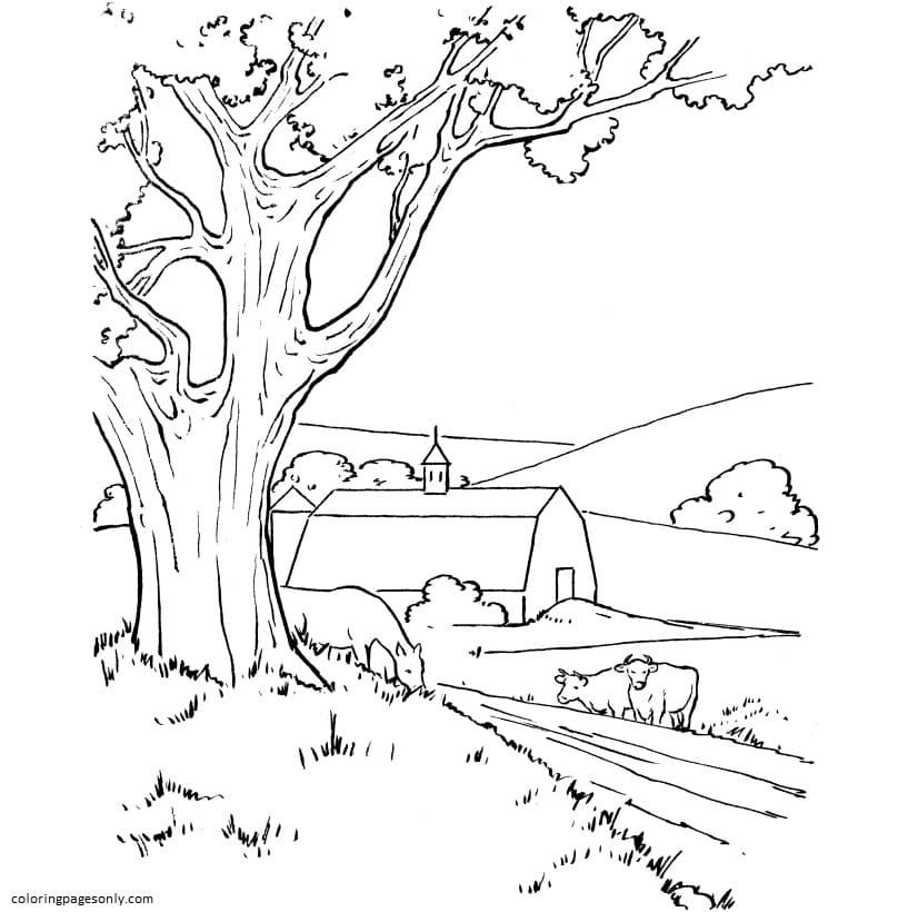 Farm Barn Scene Coloring Page