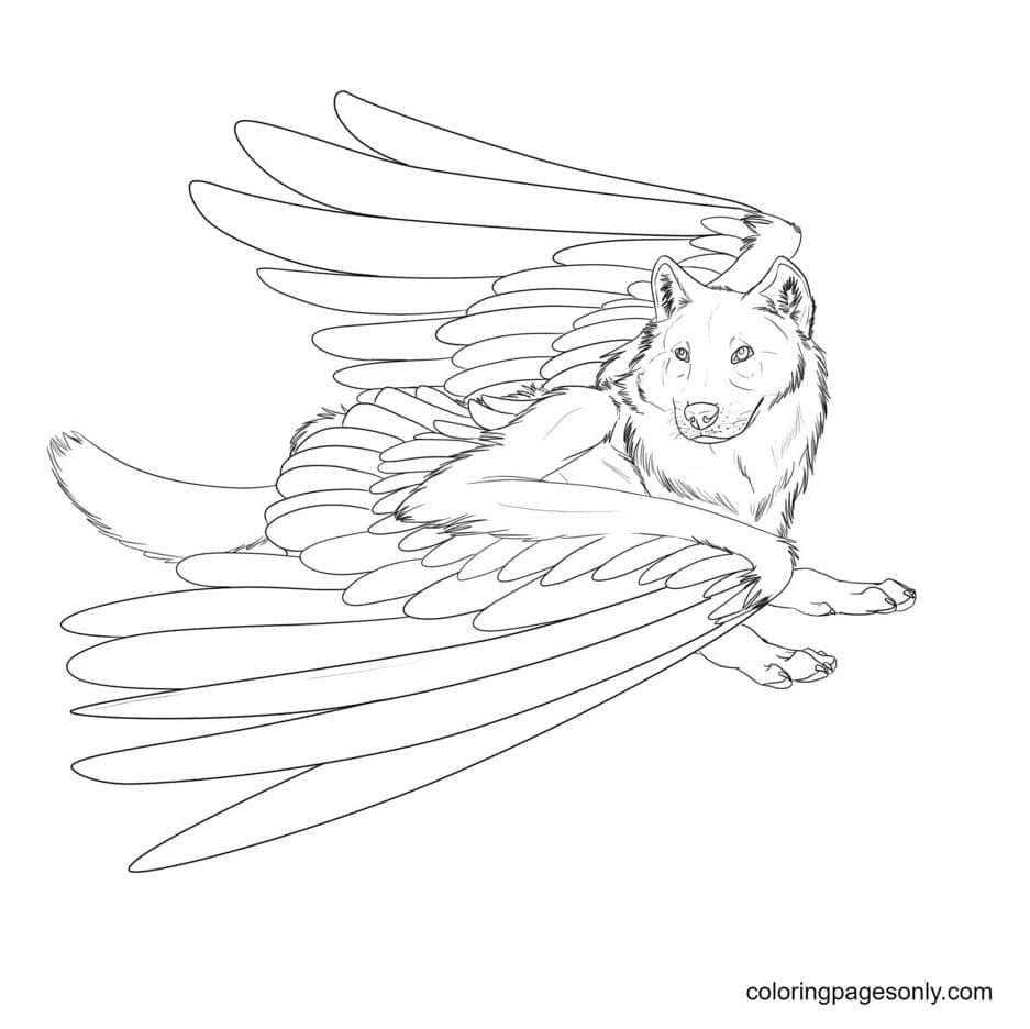 Fear Winged Wolf Coloring Page
