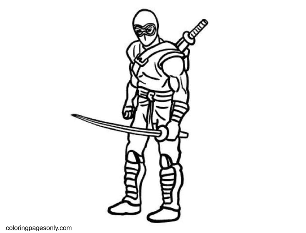Fighting Ninjas Coloring Page