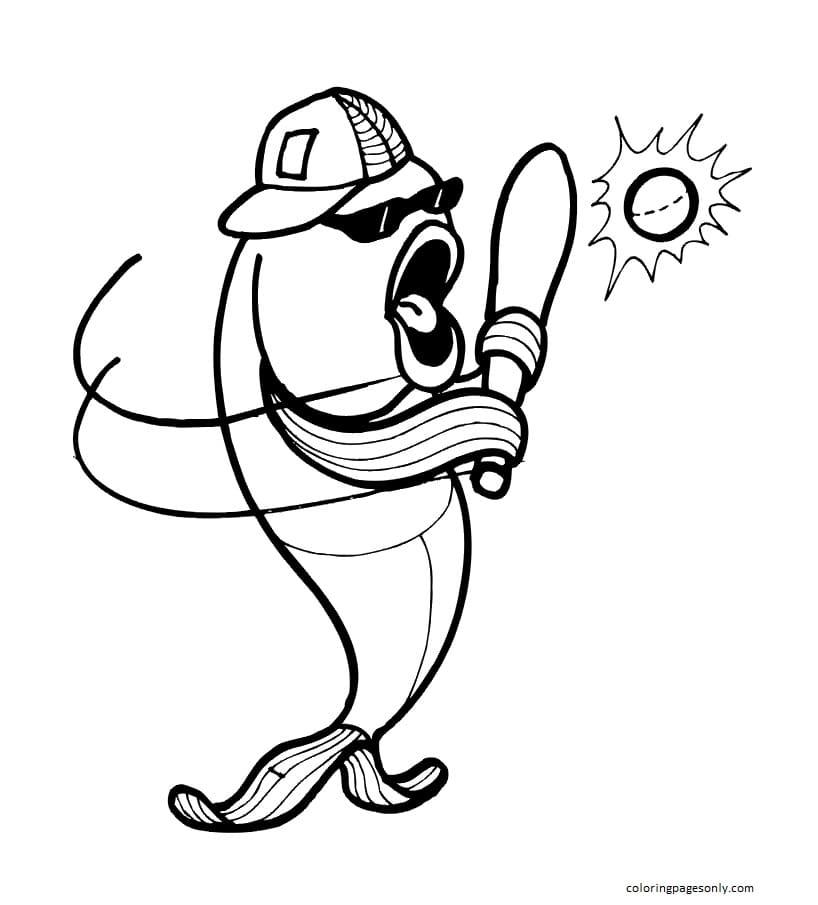Fish Baseball Player Coloring Page
