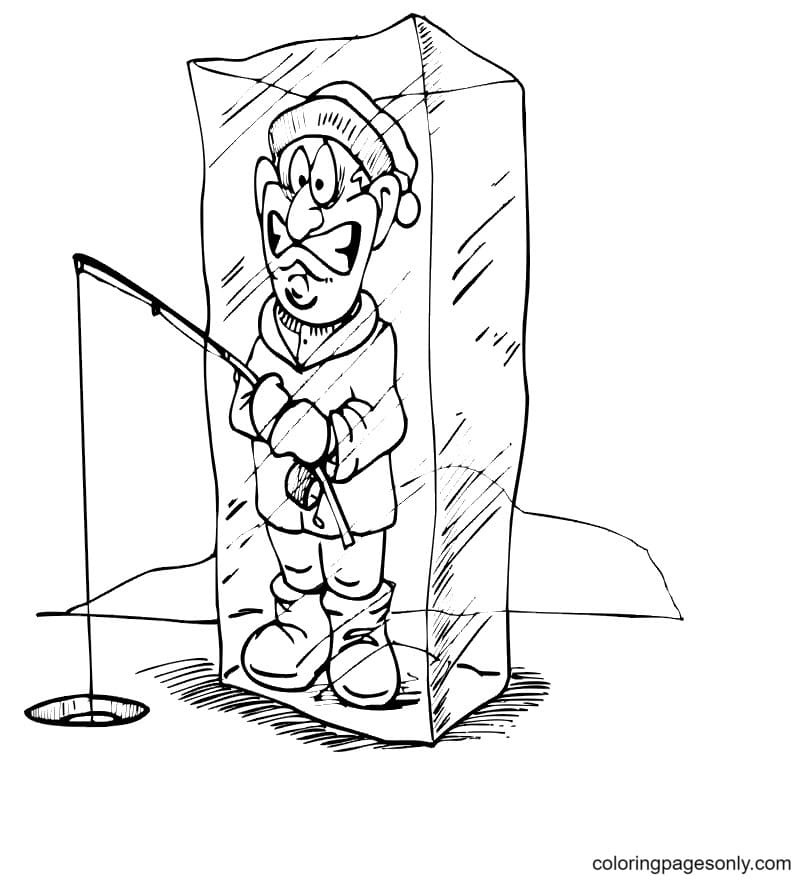 Fisherman In Ice Cube Coloring Pages