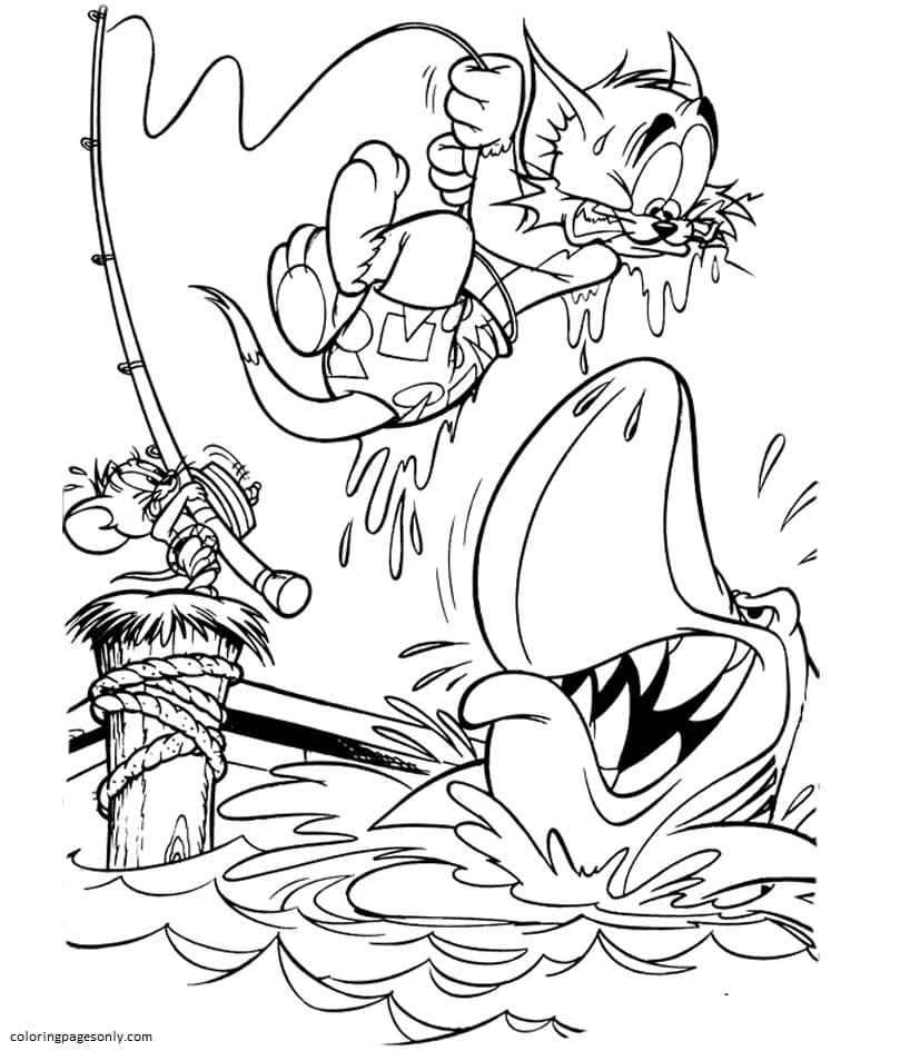 Fishing With Tom And Jerry Coloring Page