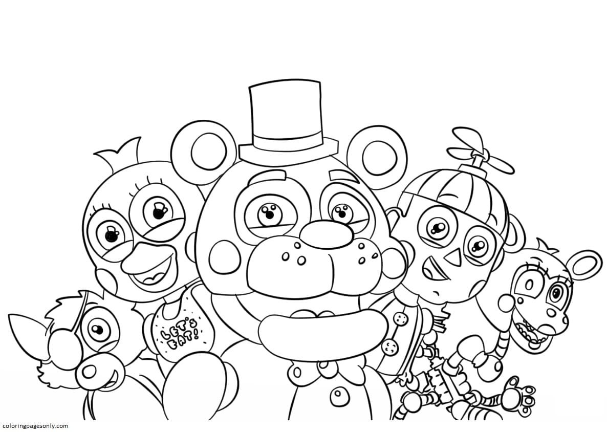 Five Nights at Freddy's All Characters Coloring Page