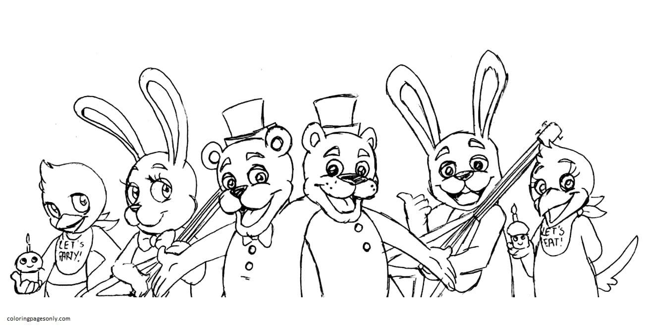 Five Nights at Freddy's Lineart 1 Coloring Page