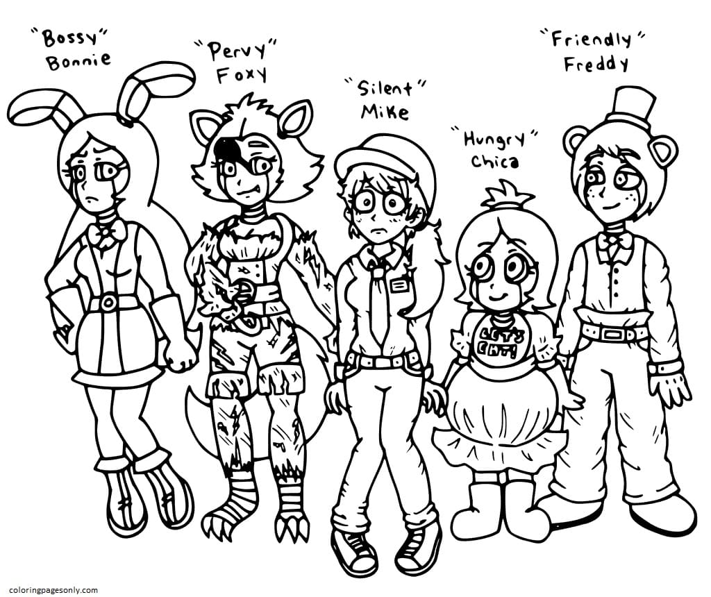 Five Nights at Freddy's Redesigned Coloring Page