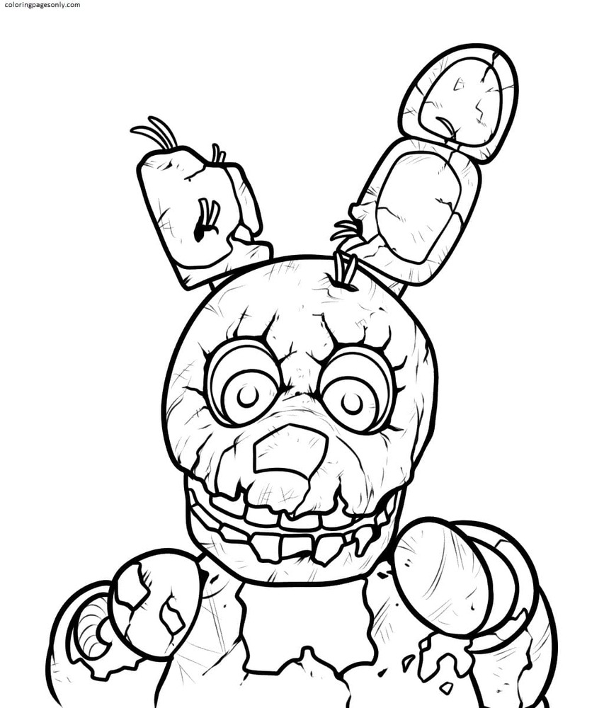Five Nights at Freddy's Springtrap Coloring Page
