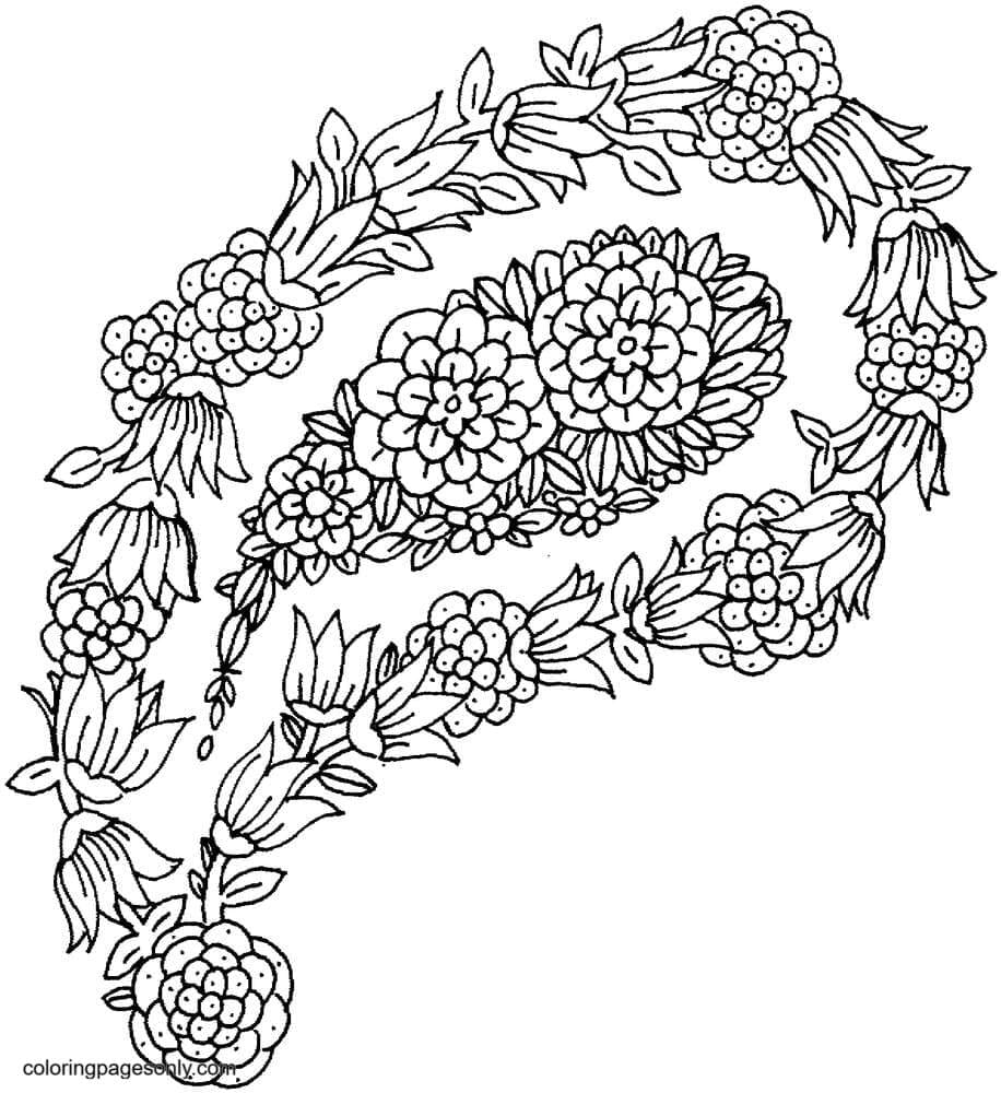 Floral Paisley Coloring Page