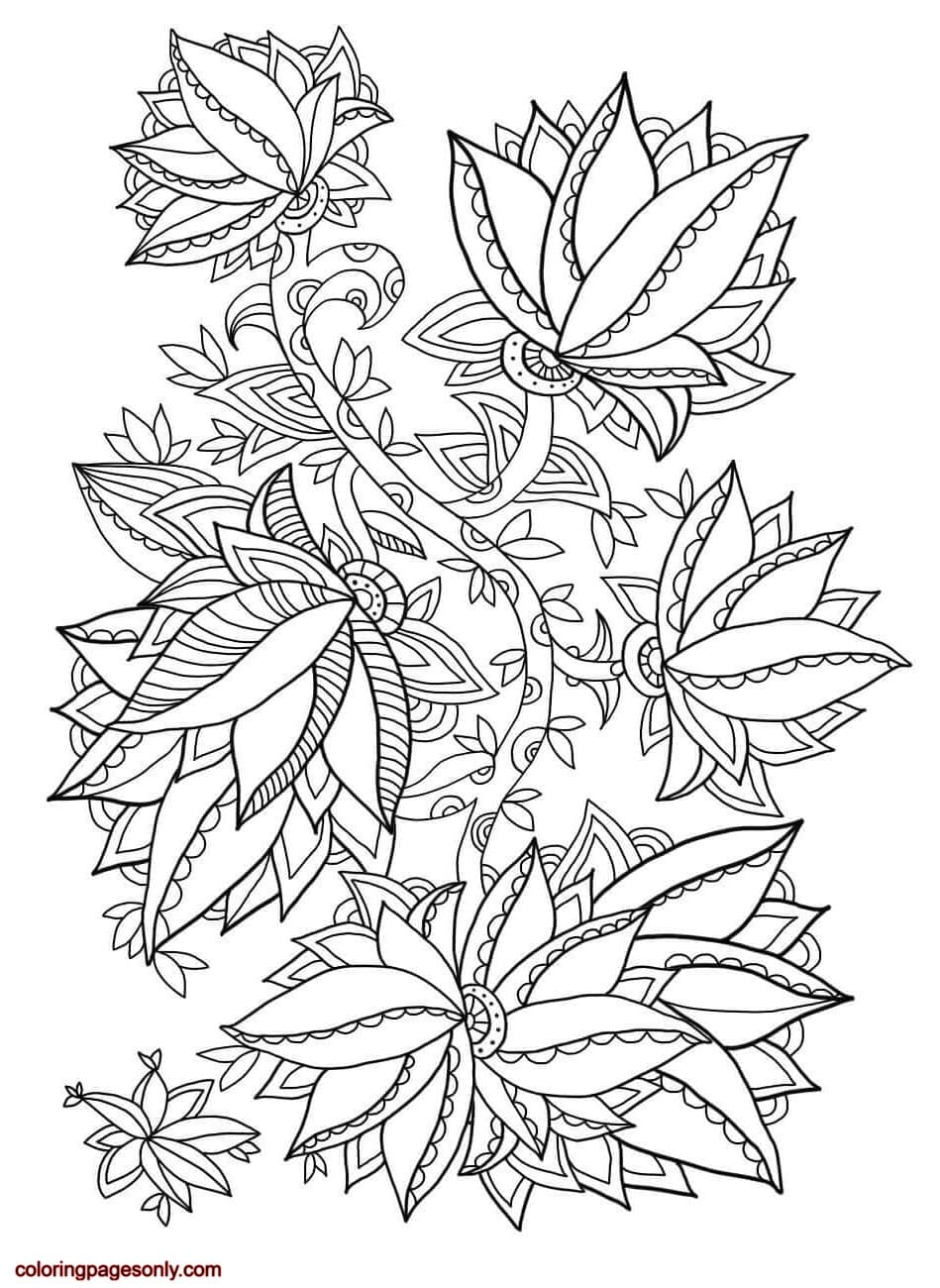 Floral Pattern 6 Coloring Page