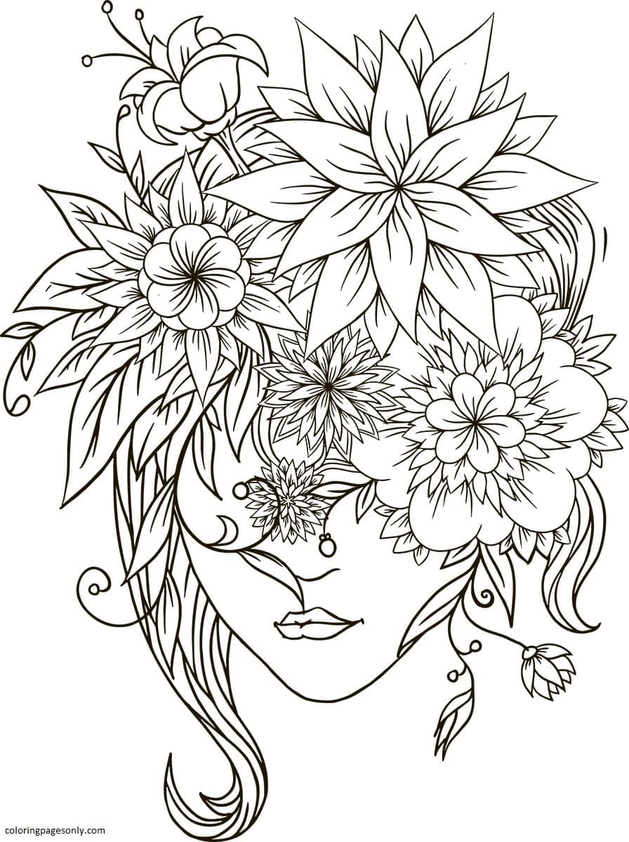 Flower Head Girl Coloring Page