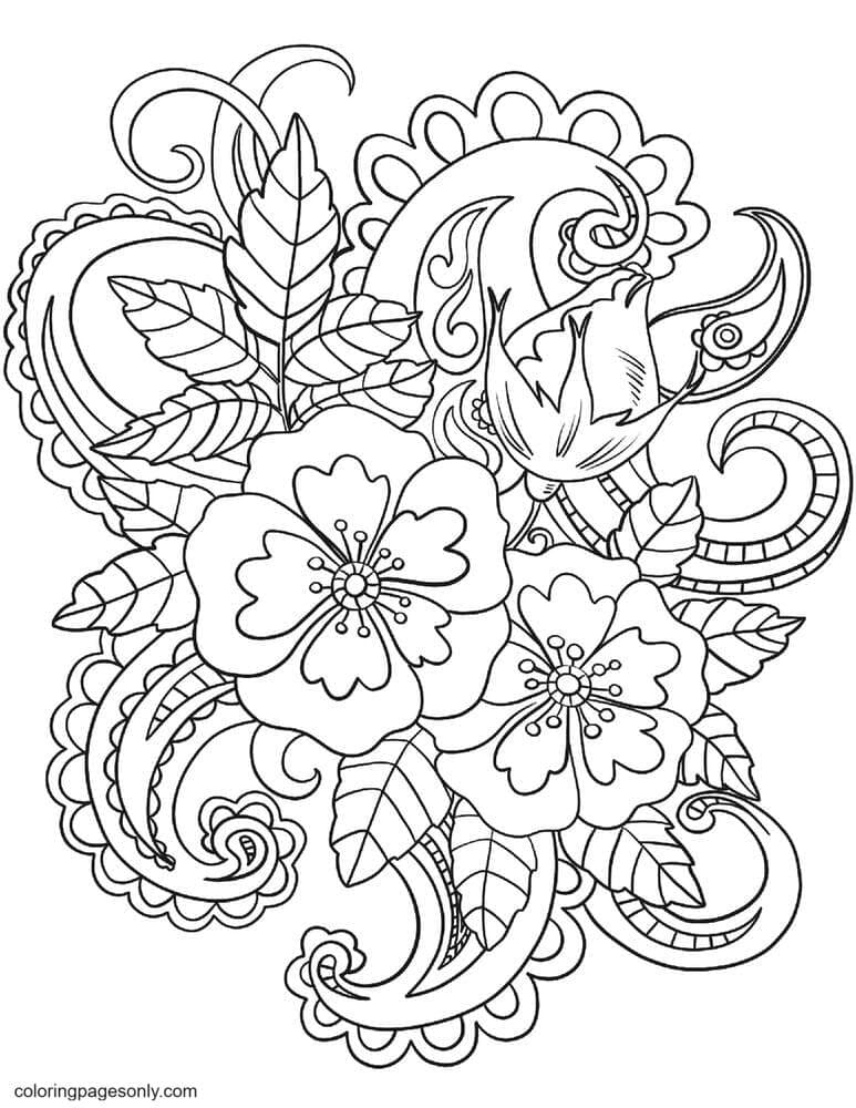 Flowers with Paisley Patterns Coloring Page