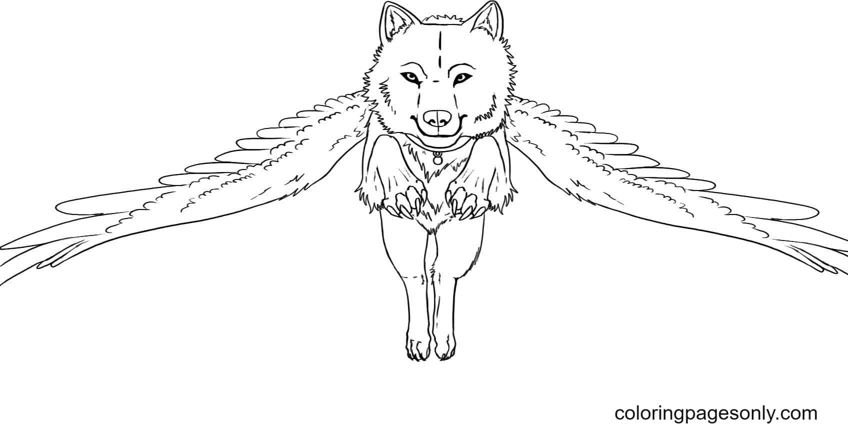 Flying Wolf Coloring Page