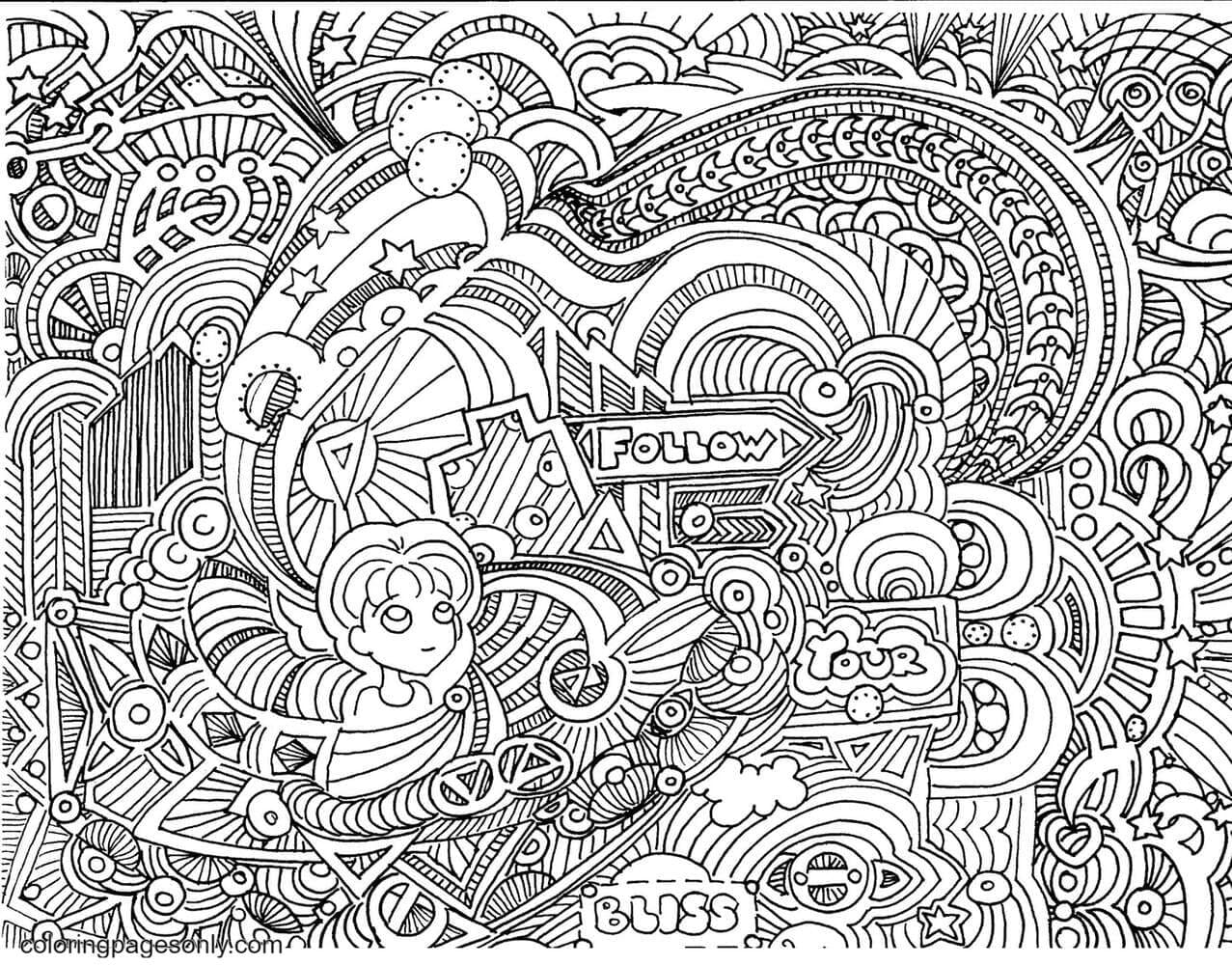 Follow Your Bliss Doodle Coloring Page