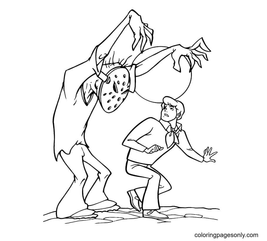 Fred and Monster Coloring Page
