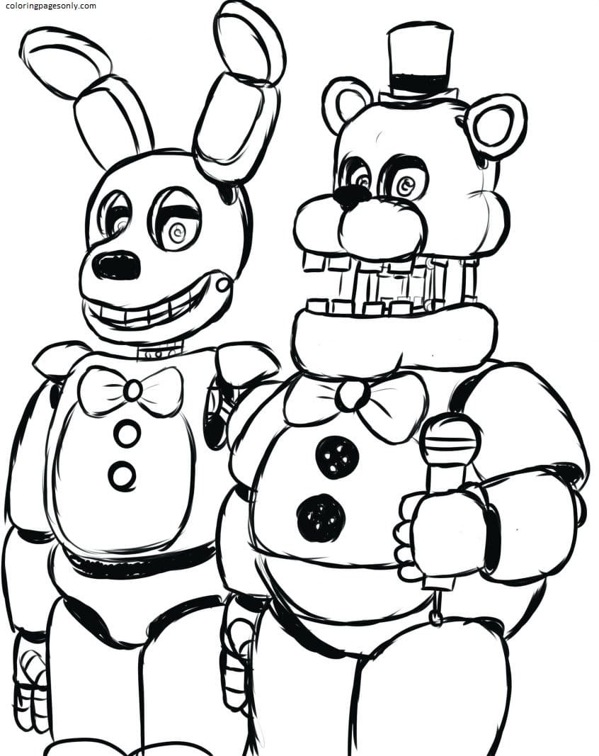 Freddy And Bonnie FNAF Coloring Page