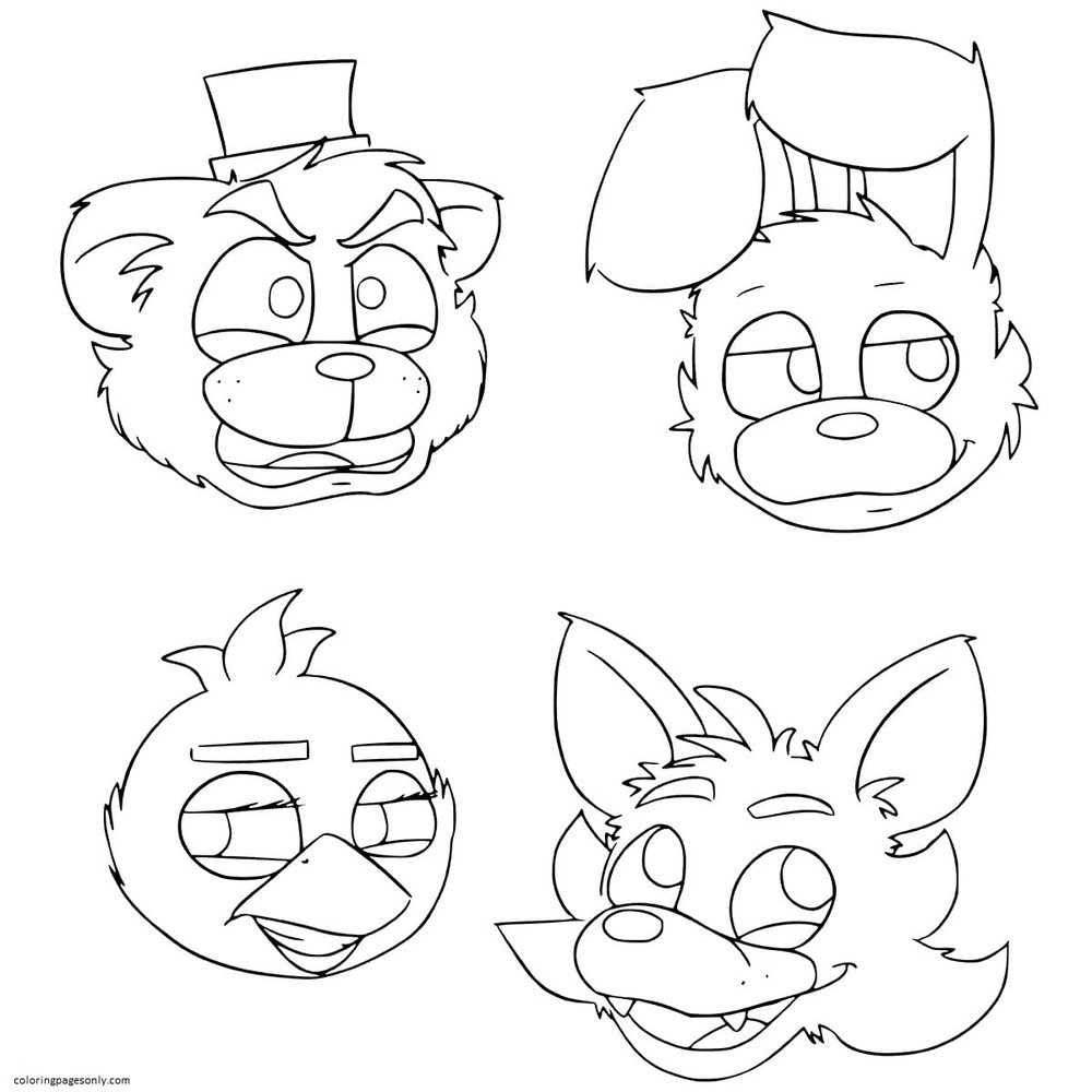 Freddy Bonnie Chica Mangle Coloring Page