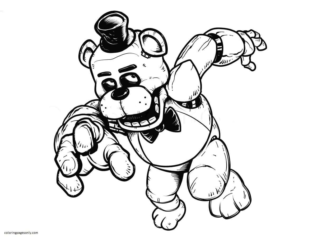 Freddy From FNaF Coloring Page