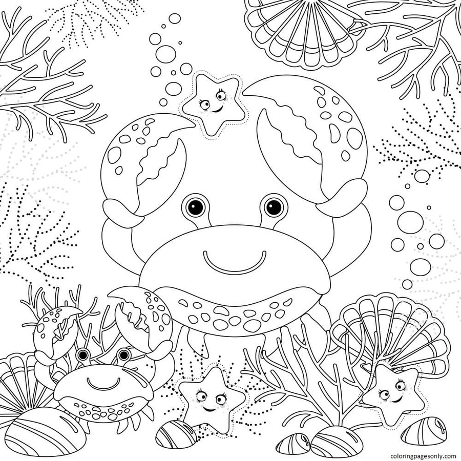 Free Crab Coloring Page