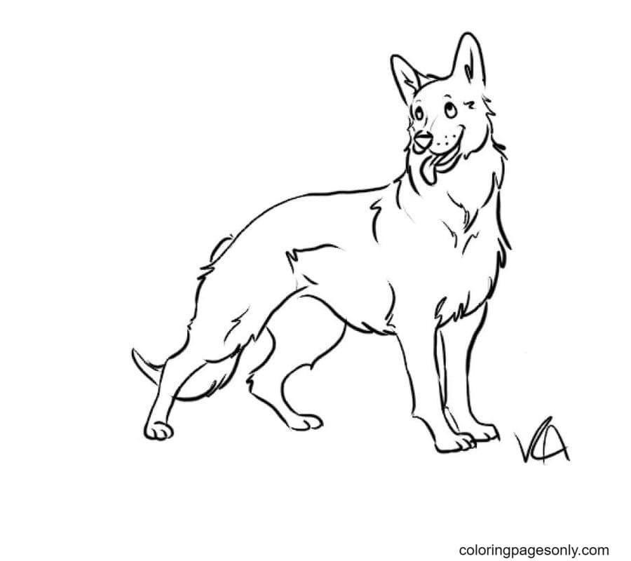 Free German Shepherd Dogs Coloring Page