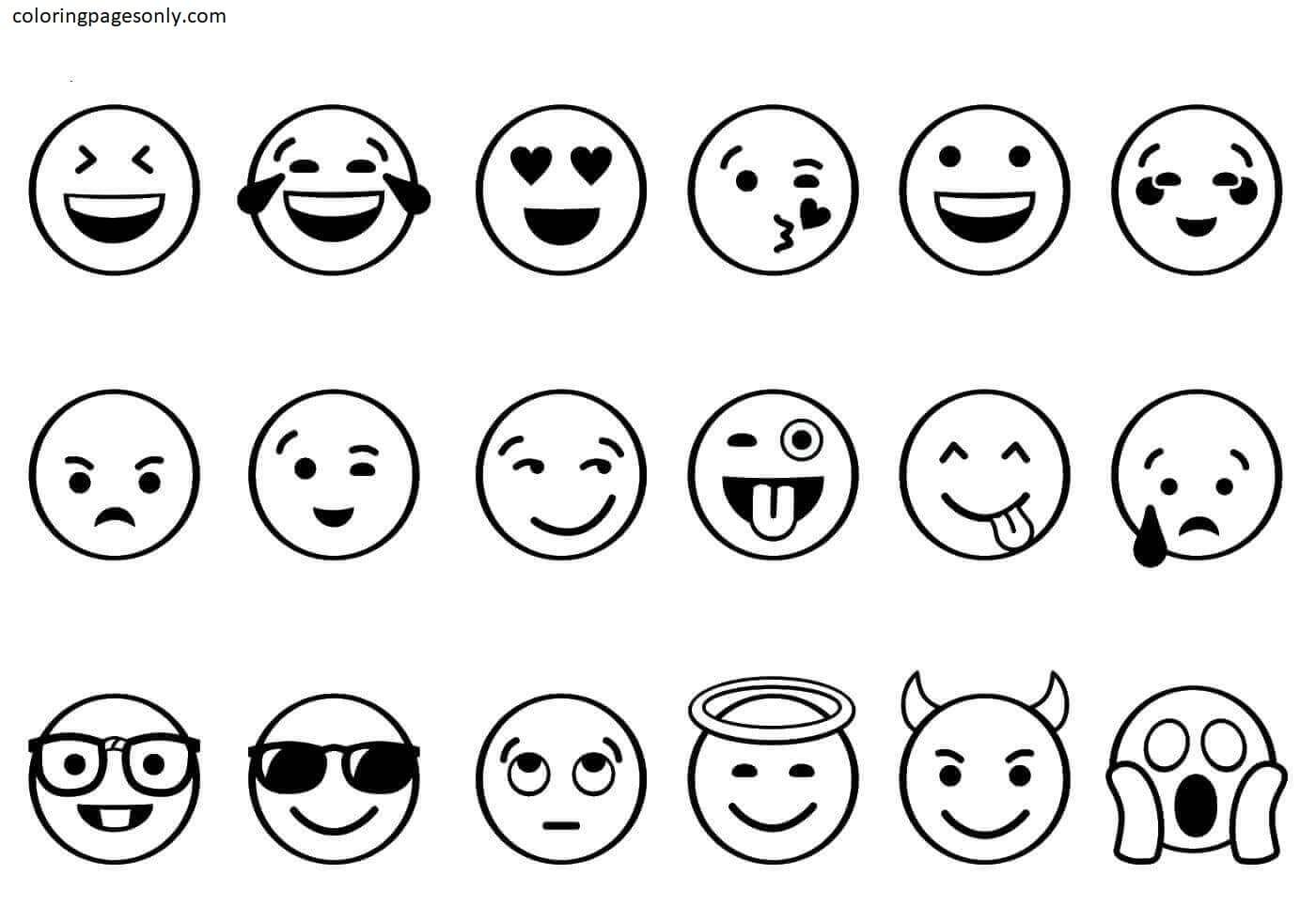 Free Printable Emojis Coloring Page