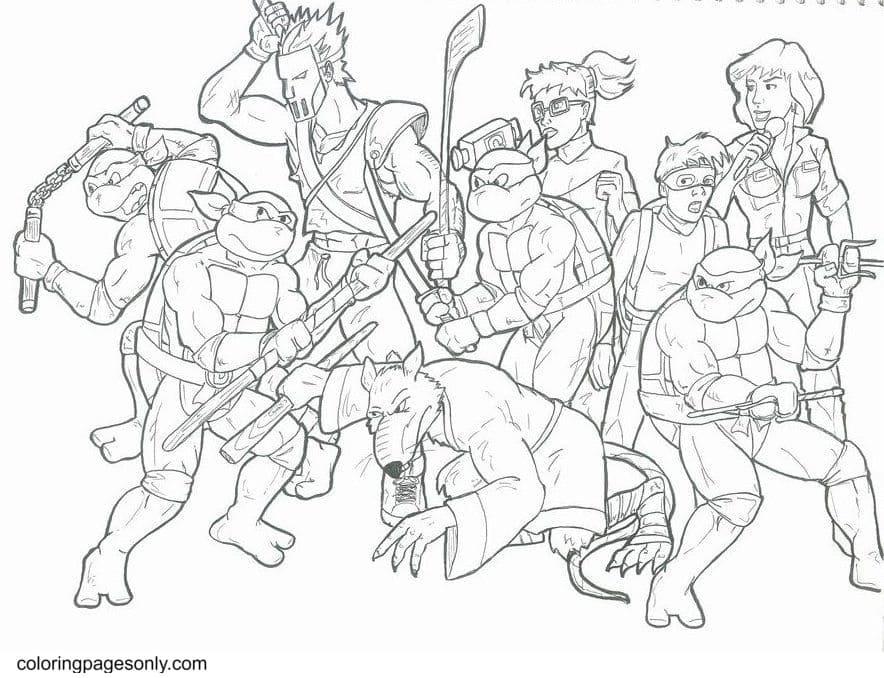 Free Printable Ninja Turtle 2 Coloring Page