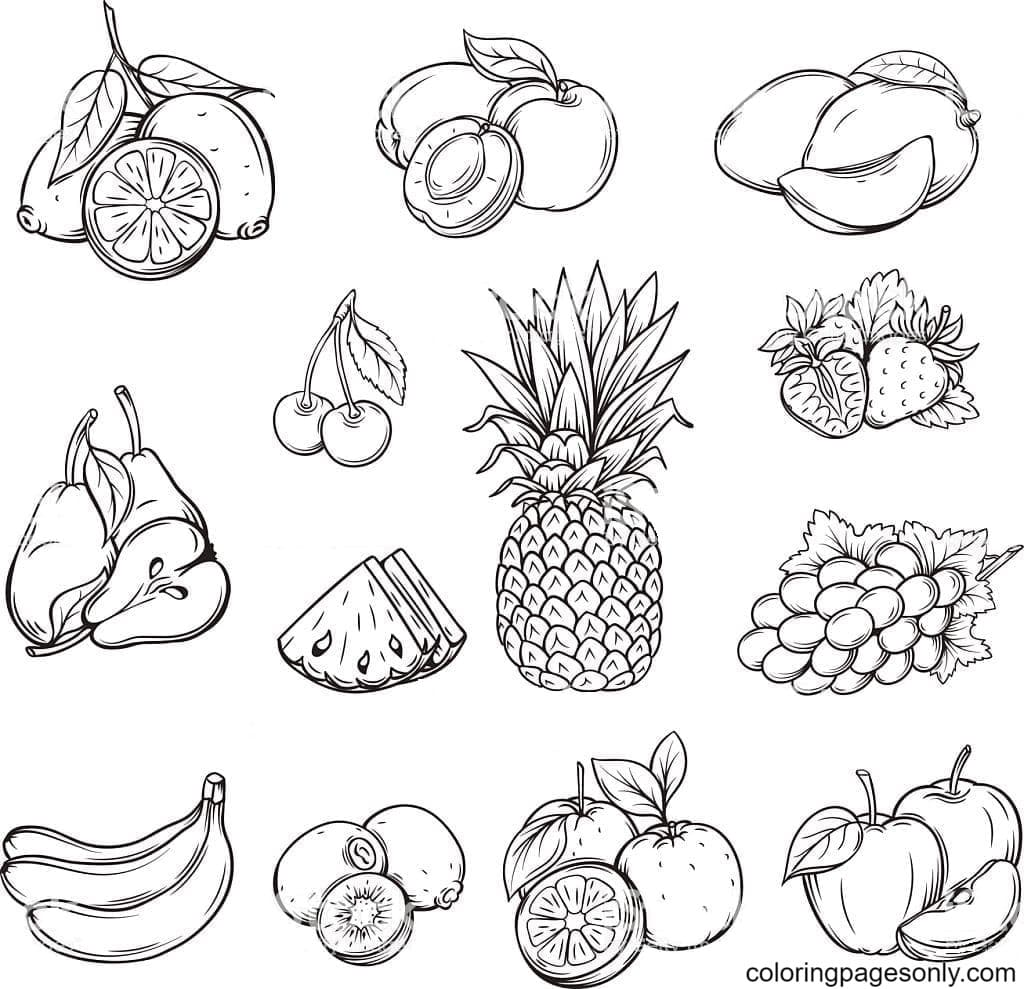 Free Printable Tropical Fruit Coloring Page