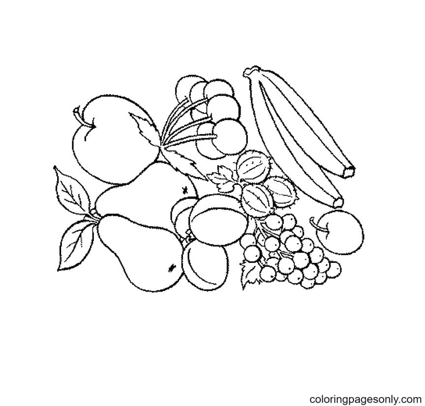 Free Tropical Fruits Printable Coloring Page