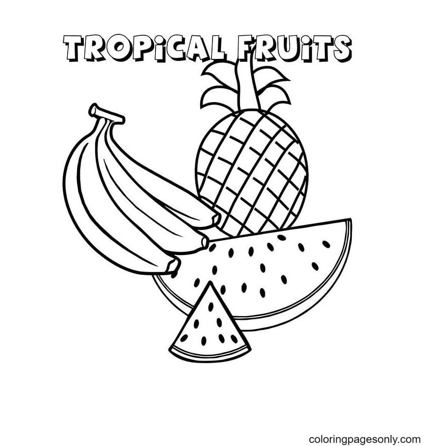 Free Tropical Fruits Coloring Page