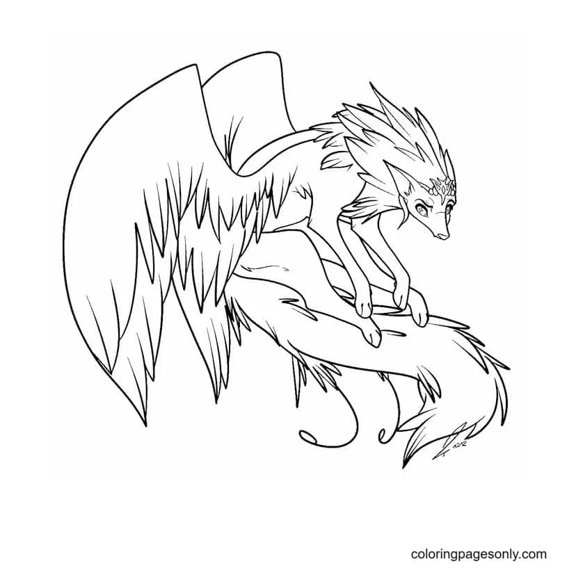 Free Winged Wolf Printable Coloring Page