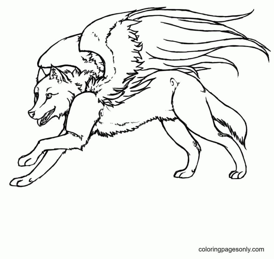 Free Wolf With Wings Printable Coloring Page